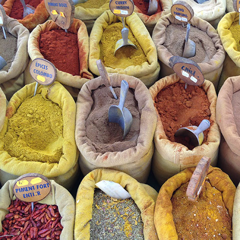 Spices at market in Provence