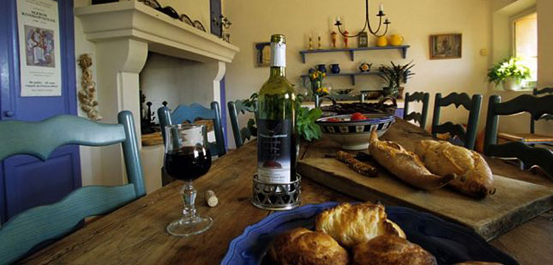 Bread and wine in Provencal home
