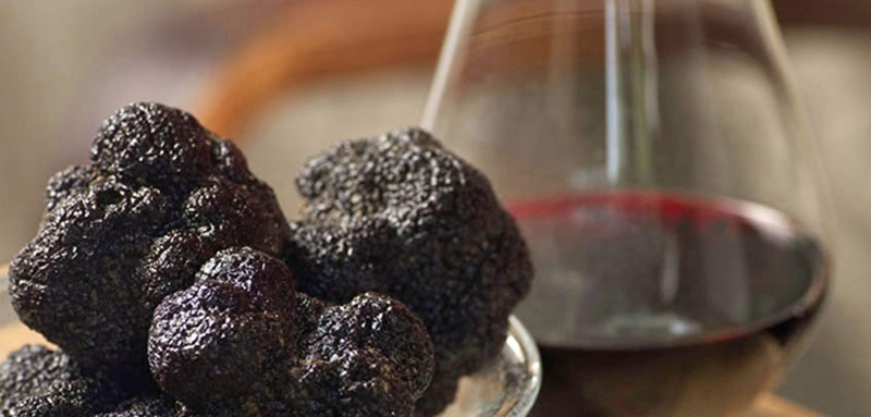Black truffles and wine
